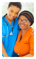 nurse and a woman smiling