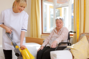 a caregiver cleaning
